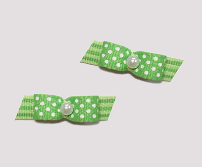 "#T8959 - 3/8"" Dog Bow - Adorable Dots & Stripes, Green"