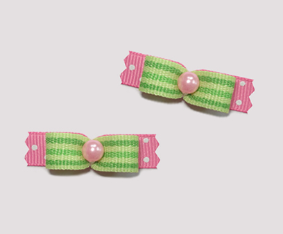 "#T8960 - 3/8"" Dog Bow - Fun Green/Pink Stripes 'n Dots"