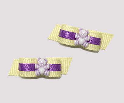 "#T8961 - 3/8"" Dog Bow - Cute Yellow with Purple Teddy Bear"