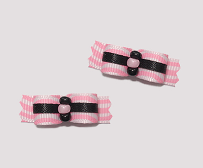 "#T8963 - 3/8"" Dog Bow - Girly Chic, Pink Squiggles with Black"