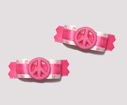 "#T8974 - 3/8"" Dog Bow - Cool Girly Hot Pink & White, Pink Peace"