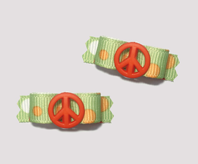 "#T8975 - 3/8"" Dog Bow - Cool Green w/Orange Dots, Orange Peace"