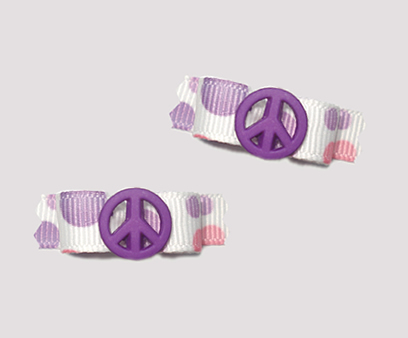 "#T8977 - 3/8"" Dog Bow - Cool Purple & Peach Dots, Purple Peace"