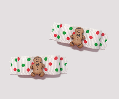 "#T8979 - 3/8"" Dog Bow - Sweet Gingerbread, Tiny Festive Dots"