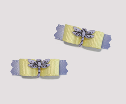 "#T8983 - 3/8"" Dog Bow - Delightful Dragonfly, Yellow & Lavender"