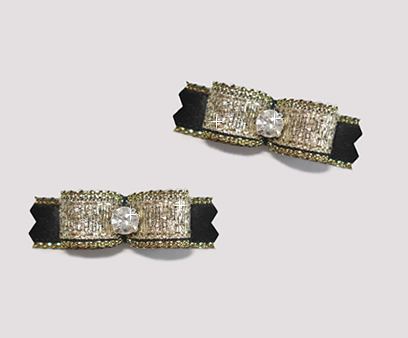 "#T8985 - 3/8"" Dog Bow - Razzle Dazzle, Gold & Black, Rhinestone"