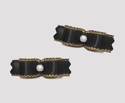 "#T8987 - 3/8"" Dog Bow - Beautiful Black with Gold, Tiny Pearl"
