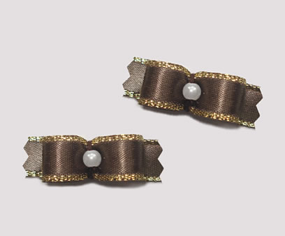 "#T8989 - 3/8"" Dog Bow - Beautiful Brown with Gold, Tiny Pearl"