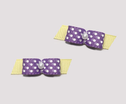 "#T8990 - 3/8"" Dog Bow Adorable Purple Tiny White Dots on Yellow"