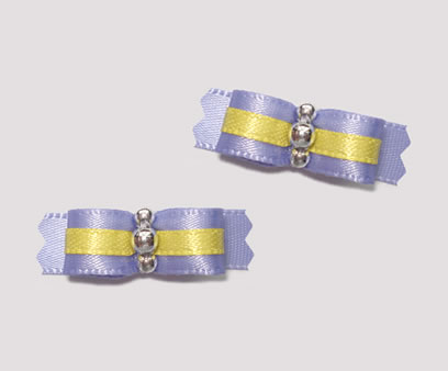 "#T8991 - 3/8"" Dog Bow - Sweet Purple & Yellow, Silver"