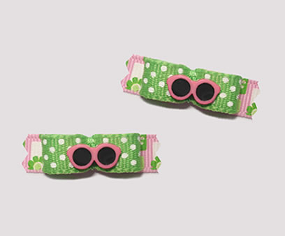 "#T8996 - 3/8"" Dog Bow - Stylin' Pink Shades, Green and Pink"