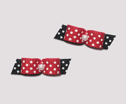"#T8997 - 3/8"" Dog Bow - Cute Red & Black with Tiny White Dots"