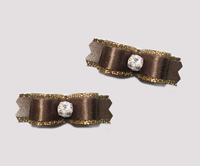 "#T8999 - 3/8"" Dog Bow - Exquisite Rich Brown w/Gold, Rhinestone"
