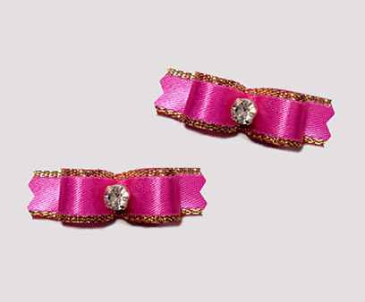 "#T9000 - 3/8"" Dog Bow - Exquisite Hot Pink with Gold, Rhinestone"