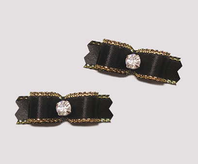 "#T9001 - 3/8"" Dog Bow - Exquisite Black with Gold, Rhinestone"