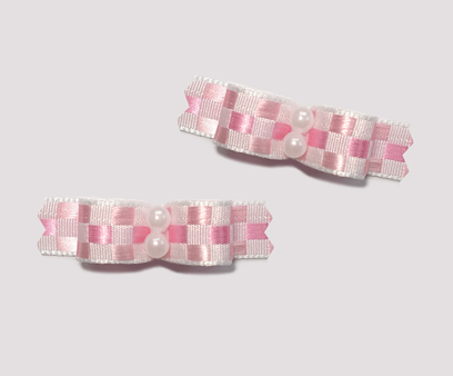 "#T9002 - 3/8"" Dog Bow - Sweet Pink Check, Faux Pearl"