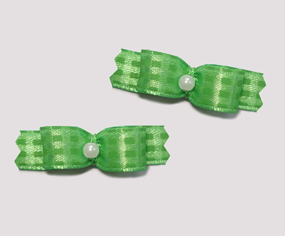 "#T9005 - 3/8"" Dog Bow - Sweet Green Plaid, Faux Pearl"