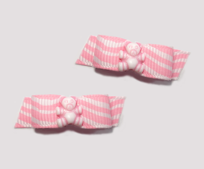 "#T9011 - 3/8"" Dog Bow - Cute Pink Squiggles & Teddy Bear"