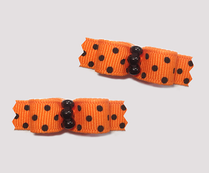 "#T9015 - 3/8"" Dog Bow - Vibrant Orange with Tiny Black Dots"