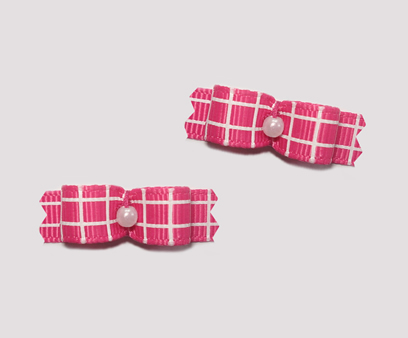 "#T9018 - 3/8"" Dog Bow - Pink Tic-Tac-Toe"
