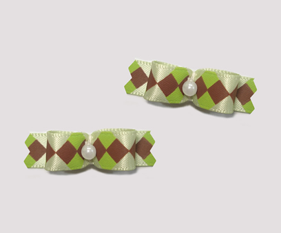 "#T9020 - 3/8"" Dog Bow - Charming Green with Brown Diamonds"