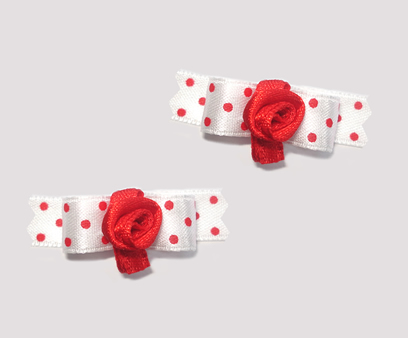 "#T9024 - 3/8"" Dog Bow - Sweetheart Dots, Red & White, Rosette"