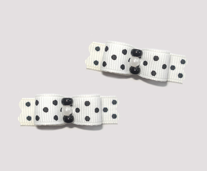"#T9025 - 3/8"" Dog Bow - Tres Chic Black & White Dots"