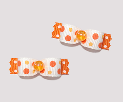 "#T9032 - 3/8"" Dog Bow - Cute Orange Bubbles' n Dots"