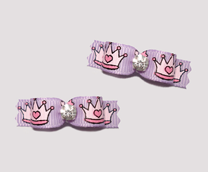 "#T9037 - 3/8"" Dog Bow - Cinderella Princess Crowns, Lavender"