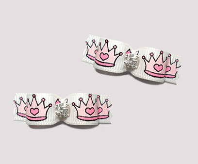 "#T9038- 3/8"" Dog Bow - Cinderella Princess Crowns, Angelic White"