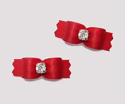 "#T9044 - 3/8"" Dog Bow - Satin, Classic Red with Rhinestone"