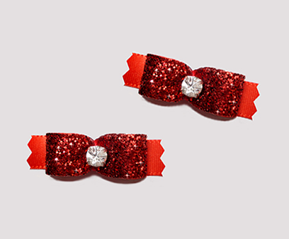 "#T9052 - 3/8"" Dog Bow - Gorgeous Glitter, Classic Red"