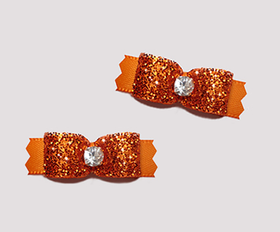 "#T9055 - 3/8"" Dog Bow - Gorgeous Glitter, Vibrant Orange"