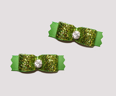 "#T9056 - 3/8"" Dog Bow - Gorgeous Glitter, Summer Green"