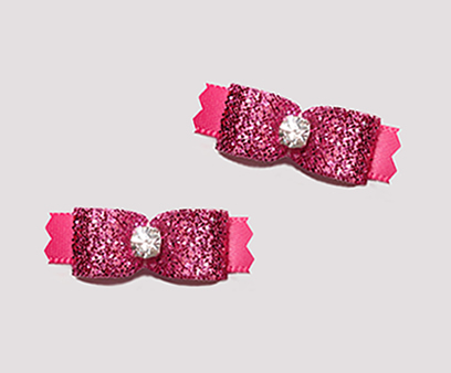"#T9058 - 3/8"" Dog Bow - Gorgeous Glitter, Glam It Up Pink"