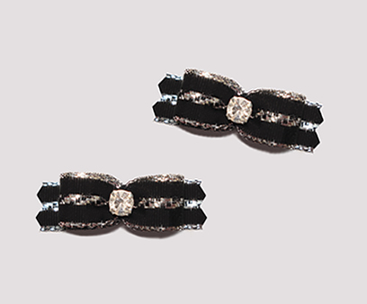 "#T9065- 3/8"" Dog Bow - Classic Black w/Silver Accent, Rhinestone"
