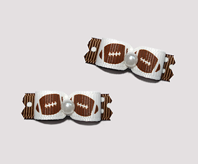 "#T9067 - 3/8"" Dog Bow - Football Fever, on Brown/White Dots"