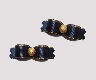 "#T9072 - 3/8"" Dog Bow - Navy Blue, Gold Stardust"