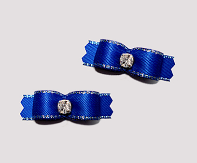 "#T9074 - 3/8"" Dog Bow - Regal Blue, Silver Edge, Rhinestone"