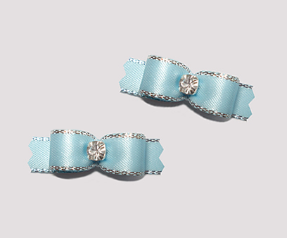 "#T9075 - 3/8"" Dog Bow - Ice Blue, Silver Edge, Rhinestone"