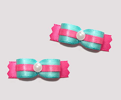 "#T9090 - 3/8"" Dog Bow - Aqua-Teal with Hot Pink, Faux Pearl"