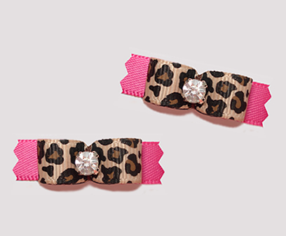 "#T9098 - 3/8"" Dog Bow - Leopard Mania, Hot Pink, Bling"