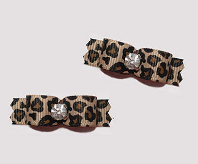"#T9100 - 3/8"" Dog Bow - Gorgeous Leopard Print with Rhinestone"