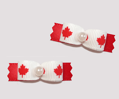 "#T9103 - 3/8"" Dog Bow - Patriotic Maple Leaf, Canada Flag"