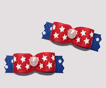 "#T9115 - 3/8"" Dog Bow - Patriotic Red, White 'n Blue, Stars"