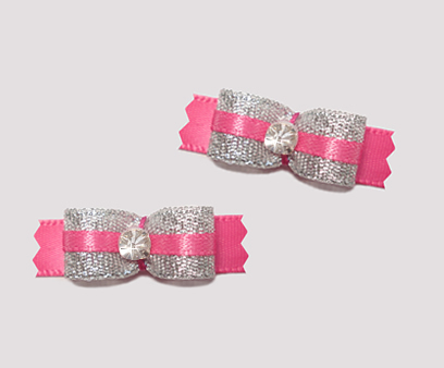 "#T9121 - 3/8"" Dog Bow - Sparkly Silver & Hot Pink, Rhinestone"