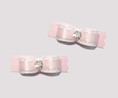 "#T9122 - 3/8"" Dog Bow - Sweet Baby Pink on Pink, Rhinestone"