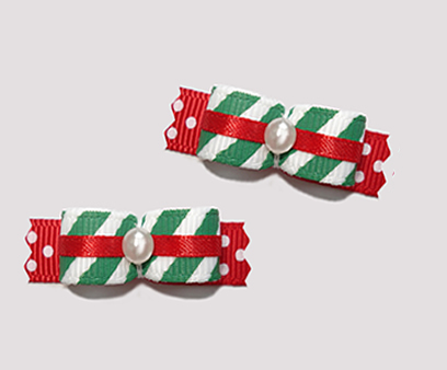 "#T9123 - 3/8"" Dog Bow - Candy Cane Stripes and Sprinkles"