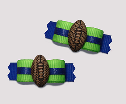 "#T9129 - 3/8"" Dog Bow - Team Spirit, Green/Blue, Football"