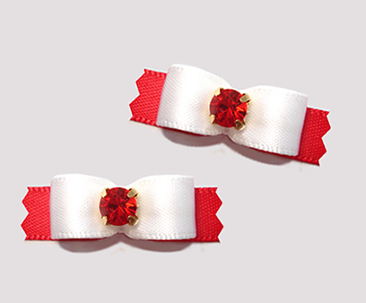 "#T9130 - 3/8"" Dog Bow - Classic White/Red, Ruby Red Rhinestone"